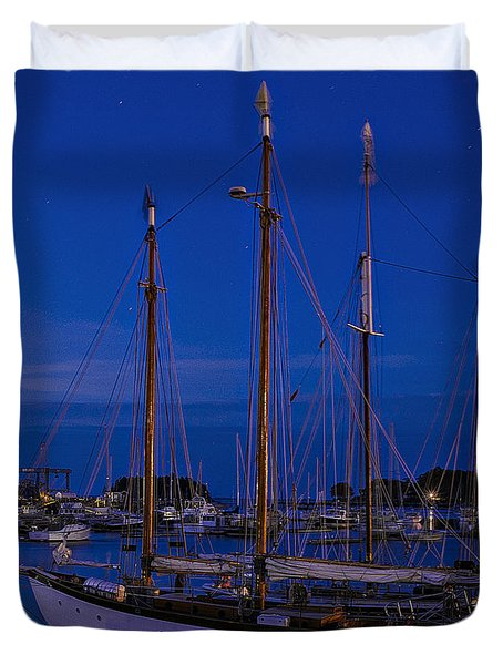 Camden Harbor Maine At 4am Duvet Cover by Marty Saccone