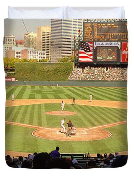 Camden Yards Baseball Game Baltimore Duvet Cover