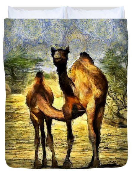 Camel Mom And Baby In Desert India Rajasthan Duvet Cover