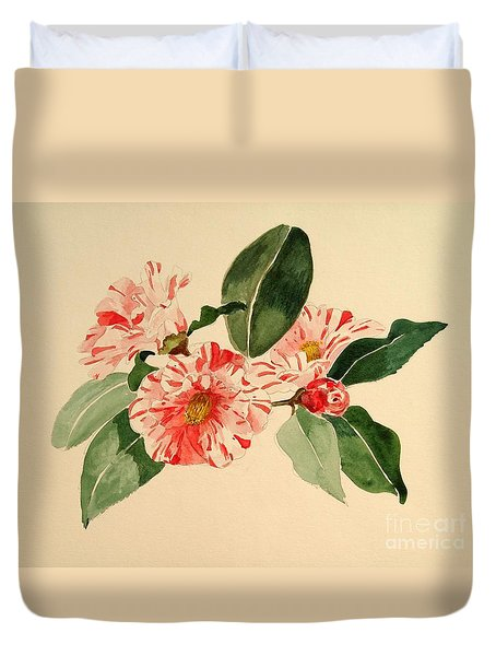 Duvet Cover featuring the painting Camellia Stripe by Nancy Kane Chapman
