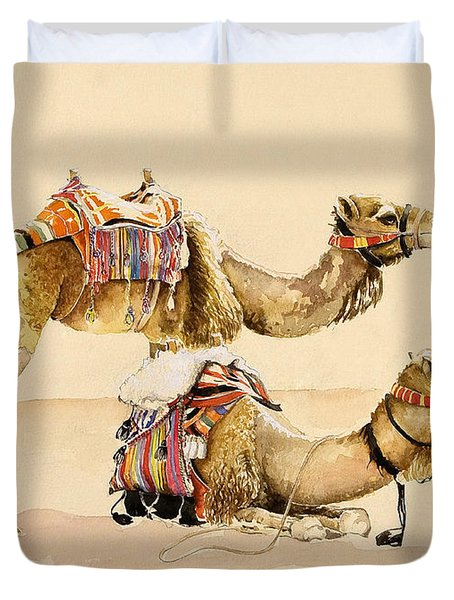 Camels From Petra Duvet Cover