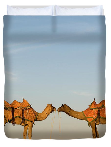 Camels Stand Face To Face In The Thar Duvet Cover