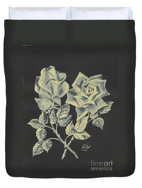 Duvet Cover featuring the painting Cameo Rose by Carol Wisniewski