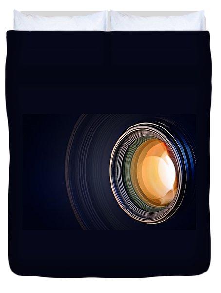 Camera Lens Background Duvet Cover