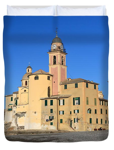 Duvet Cover featuring the photograph Camogli Seaside And Church by Antonio Scarpi