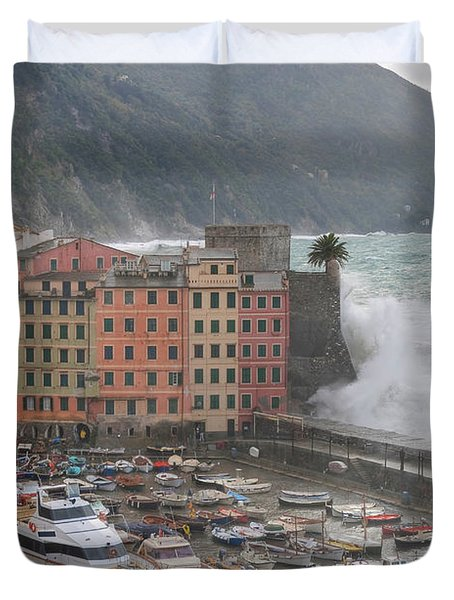 Duvet Cover featuring the photograph Camogli Under A Storm by Antonio Scarpi