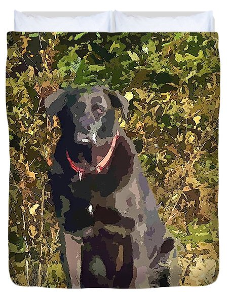Camouflage Labrador - Black Dog - Retriever Duvet Cover by Barbara Griffin