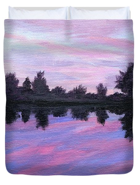 Duvet Cover featuring the painting Camp Sunset by Lynne Reichhart