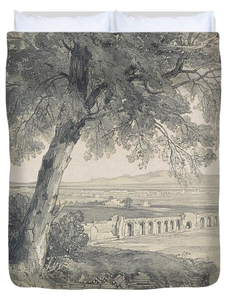 Campagna Of Rome From Villa Mattei Duvet Cover by Edward Lear