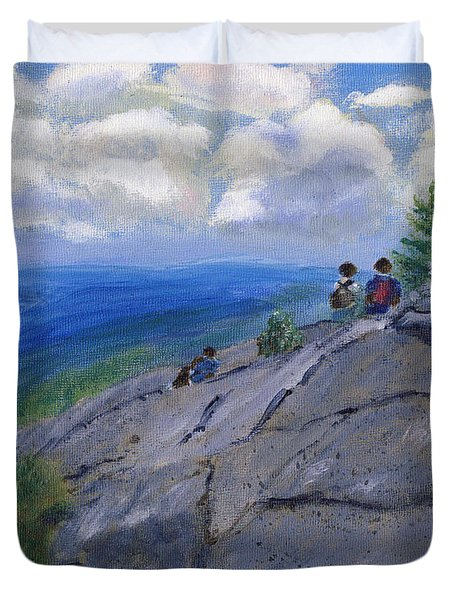 Duvet Cover featuring the painting Campers On Mount Percival by Linda Feinberg
