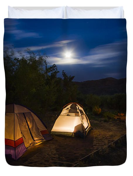 Campfire And Moonlight Duvet Cover by Adam Romanowicz