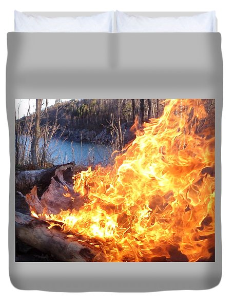 Duvet Cover featuring the photograph Campfire by James Peterson