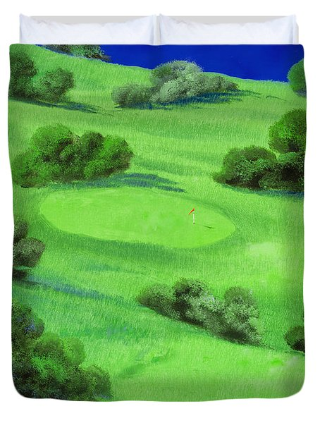 Campo Da Golf Di Notte Duvet Cover by Guido Borelli