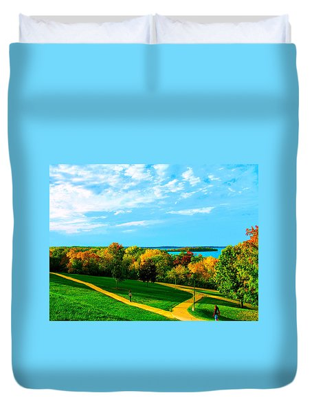 Duvet Cover featuring the photograph Campus Fall Colors by Zafer Gurel