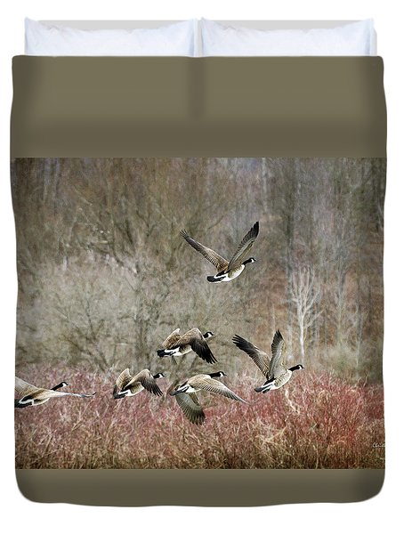 Canada Geese In Flight Duvet Cover by Christina Rollo