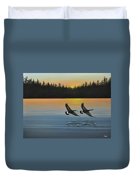 Canada Geese Duvet Cover by Kenneth M  Kirsch