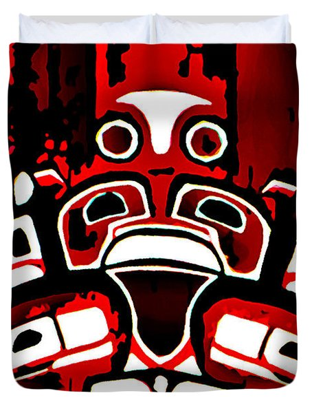 Canada - Inuit Village Totem Duvet Cover