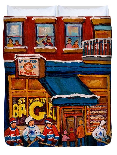Canadian  Artists Paint Hockey And Montreal Streetscenes Over 500 Prints Available  Duvet Cover by Carole Spandau
