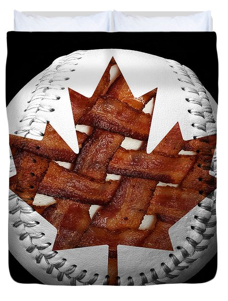 Canadian Bacon Lovers Baseball Square Duvet Cover by Andee Design