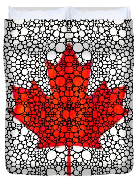Canadian Flag - Canada Stone Rock'd Art By Sharon Cummings Duvet Cover by Sharon Cummings