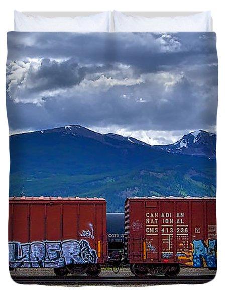 Canadian Freight Train In Jasper Duvet Cover
