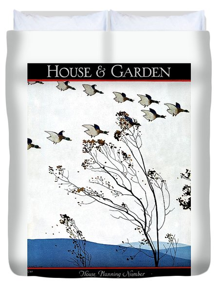 Canadian Geese Over Brown-leafed Trees Duvet Cover