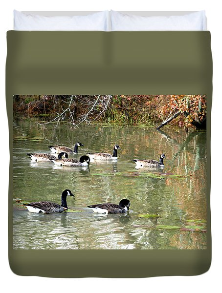 Canadian Geese Swimming In Backwaters Duvet Cover by William Tanneberger