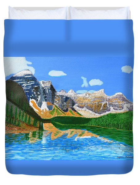 Duvet Cover featuring the painting Canadian Mountains And Lake  by Magdalena Frohnsdorff