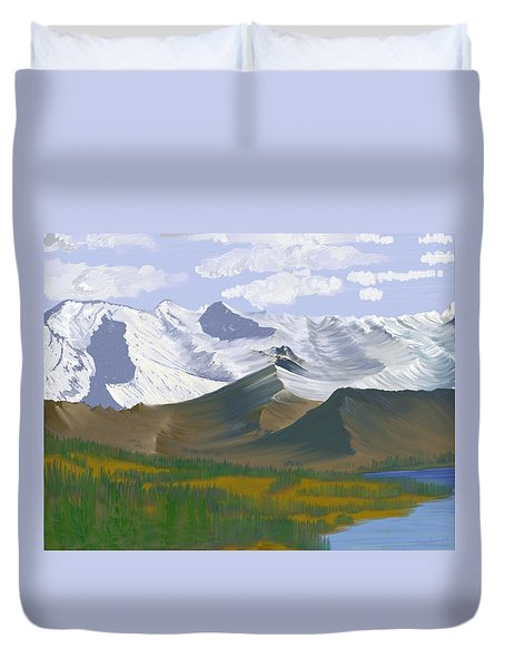 Canadian Rockies Duvet Cover by Terry Frederick