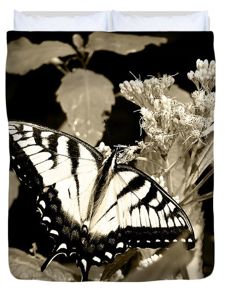 Canadian Tiger Swallowtail In Sepia Duvet Cover