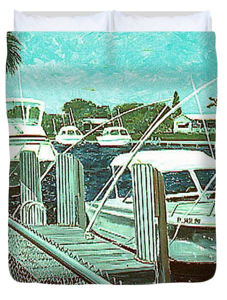 Canal At Pompano Duvet Cover