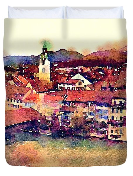 Duvet Cover featuring the photograph Canal At Thurgau by Susan Maxwell Schmidt
