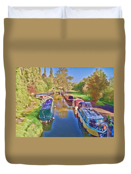 Duvet Cover featuring the photograph Canal Barges by Paul Gulliver