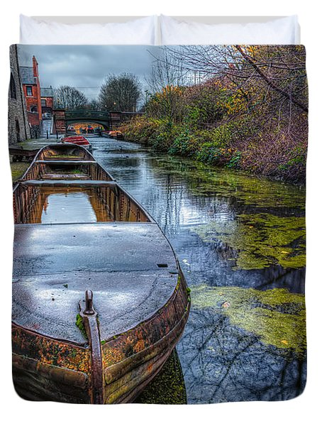Canal Boat Duvet Cover by Adrian Evans