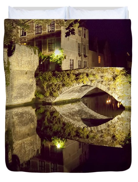 Canal Bridge Reflection Duvet Cover