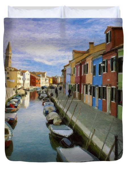 Canal Burano  Venice Italy  Duvet Cover
