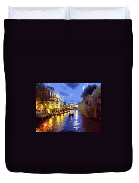 Water Canals Of Amsterdam Duvet Cover by Georgi Dimitrov