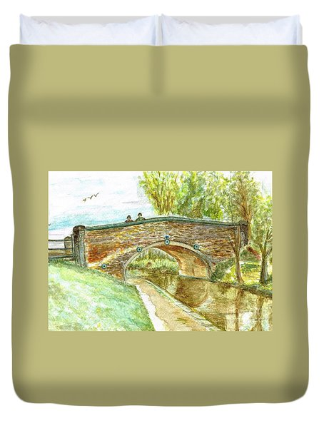 Duvet Cover featuring the painting Canal-bridal Path In Staffordshire  by Teresa White