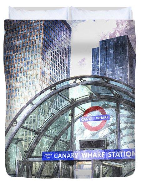 Canary Wharf Station Art Duvet Cover by David Pyatt
