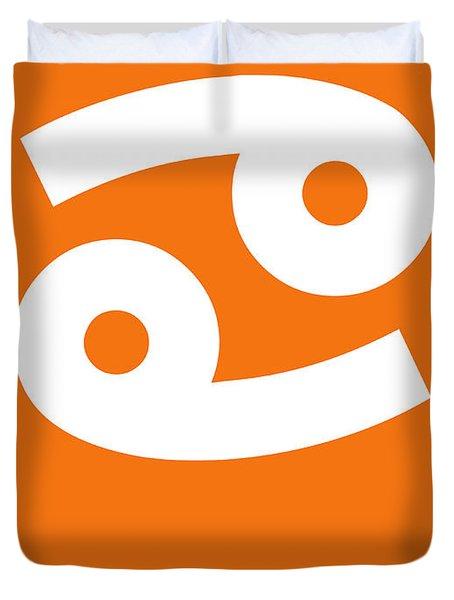 Cancer Zodiac Sign White On Orange Duvet Cover
