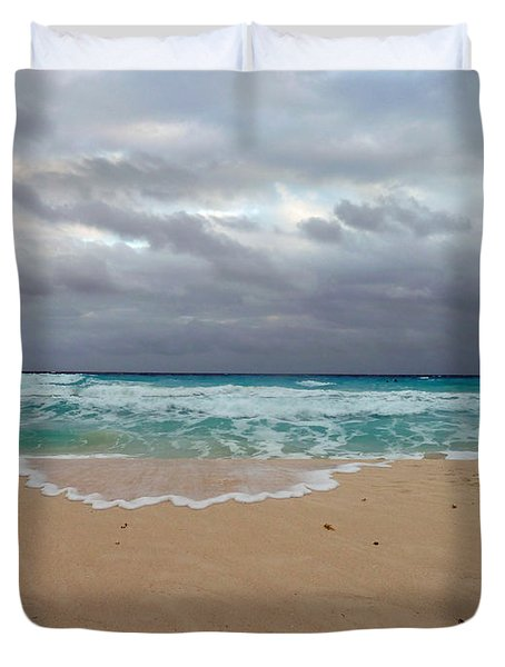 Duvet Cover featuring the photograph Cancun - Dark Sky by Cheryl Del Toro