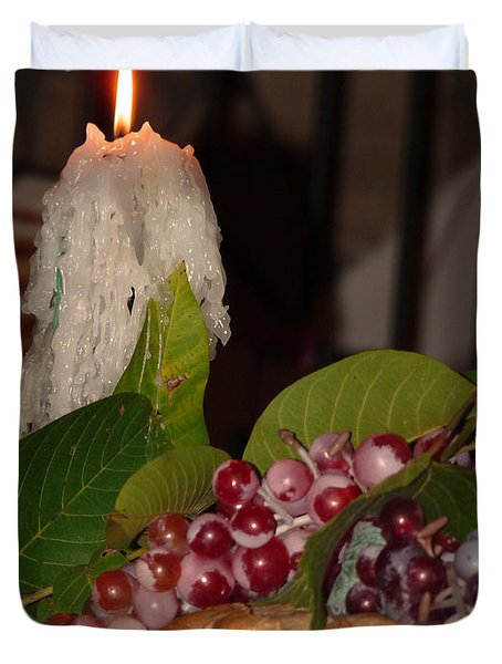 Candle And Grapes Duvet Cover