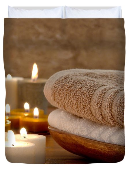 Candles And Towels In A Spa Duvet Cover