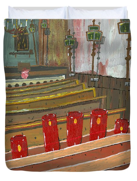Candles In Cinque Terra Duvet Cover