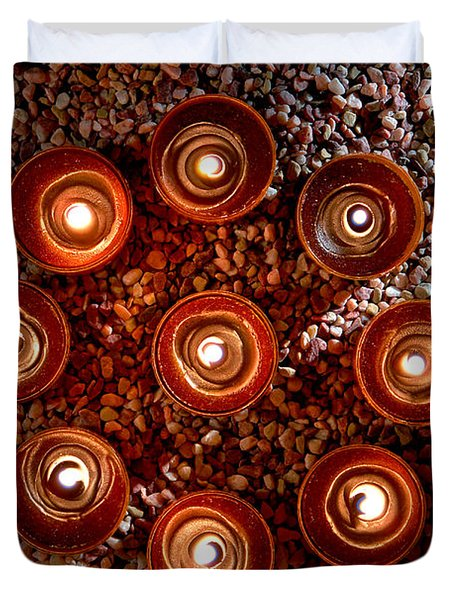 Candles Spiritual Circle Duvet Cover