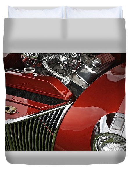Candy Apple Red And Chrome Duvet Cover