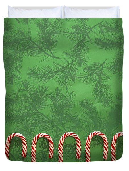 Candy Canes Duvet Cover by Colette Scharf