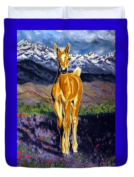 Candy Rocky Mountain Palomino Colt Duvet Cover