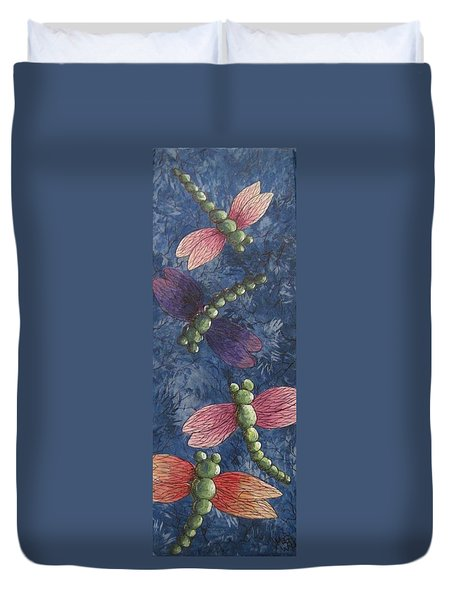 Duvet Cover featuring the painting Candy-winged Dragons by Megan Walsh