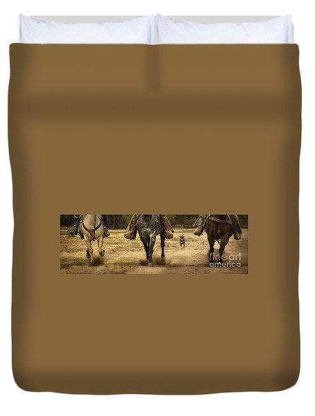 Canine Verses Equine Duvet Cover by Priscilla Burgers
